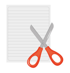 sheet notebook paper with scissors vector image