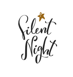 silent night christmas and new year calligraphy vector image