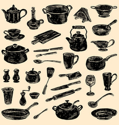 Silhouettes kitchenware vector