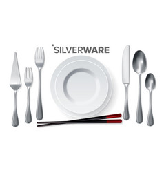 silverware set silver metal knife spoon vector image
