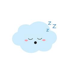 Sleeping cartoon cloud character in flat style vector