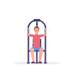 sporty man working out on lat pull down machine vector image