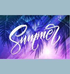 summer lettering palm leaf and sea background vector image