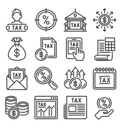 tax icons set on white background vector image