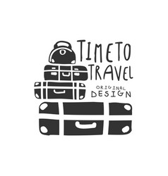 Time to travel logo with travelers luggage vector