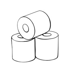 toilet paper rolls hand-drawn vector image