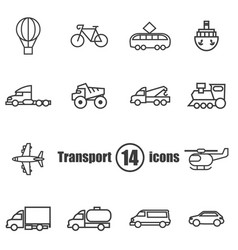 transport set of 14 icons in a flat style vector image