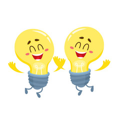 Two cute light bulb character with funny face vector