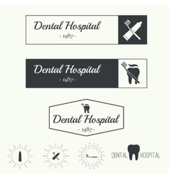 Vintage hipster banners insignias with tooth vector
