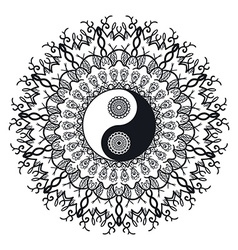 Vintage Yin and Yang in Mandala vector image