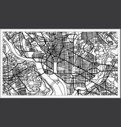 Washington dc usa map in black and white color vector