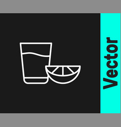 white line tequila glass with lemon icon isolated vector image
