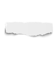 White oblong paper tear with soft shadow isolated vector