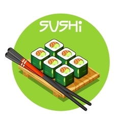 Wooden tray with sushi food vector