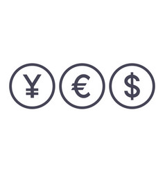 Word yes currency icons yen euro dollar symbols vector