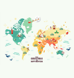 world map with christmas elements vector image