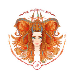 zodiac sign portrait of a woman sagittarius vector image