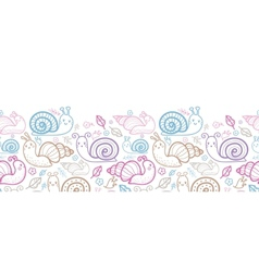 Cute smiling snails horizontal seamless pattern vector image