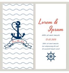 Nautical style wedding invitation vector image vector image