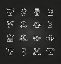 trophy prizes awards icons chalkboard vector image