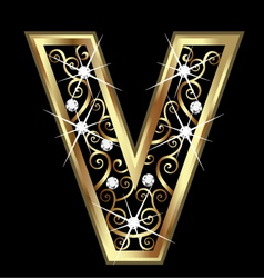 V gold letter with swirly ornaments vector image vector image
