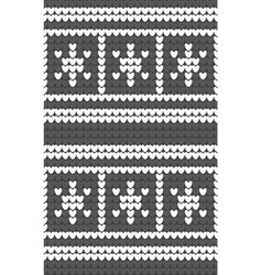 white snowflakes gray background knitted pattern vector image