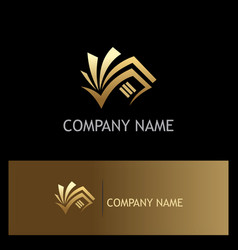 book document business gold logo vector image