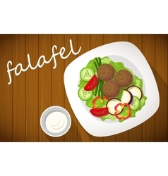 Plate of falafel on wooden table Top view vector image vector image