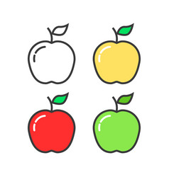 set of linear colored apples vector image
