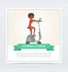 young woman working out on exercise bike fitness vector image