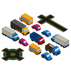 3d design for different types of cars and roads vector image
