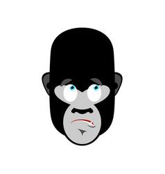 gorilla surprised emoji monkey astonished emotion vector image vector image
