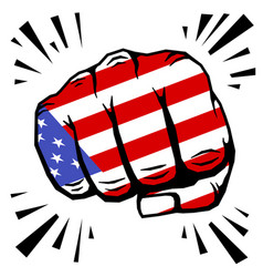 hand drawn fist - american flag fist on white vector image vector image