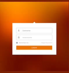 modern white login user interface form design vector image vector image
