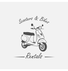 Rent sale repair - bicycles mopeds and scooters vector image vector image