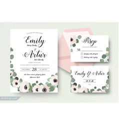 wedding invitation floral invite rsvp thank you vector image