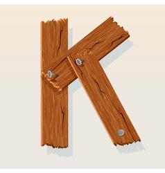 wooden letter k vector image