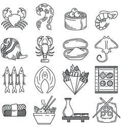 Black line icon collection of sea food vector image vector image