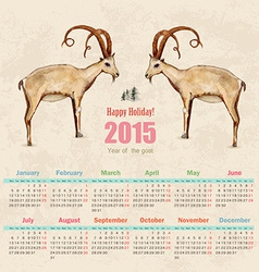 calendar for 2015 watercolor painting of goat vector image