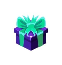 Dark Blue Gift Box With Present Decorative vector image