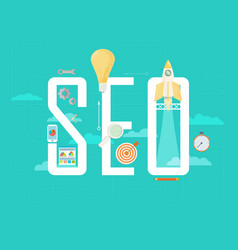 Flat design modern concept of seo word combined vector