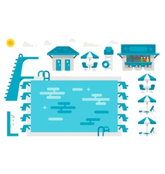 Flat design swimming pool set vector image
