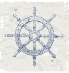 Hand drawn ship steering wheel vector image