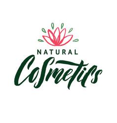 natural cosmetics logo stroke pink water vector image