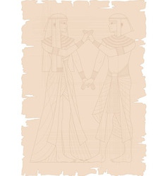 Papyrus with Egyptian Couple vector image vector image