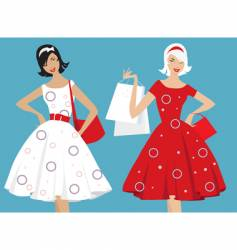 retro girls shopping vector image vector image