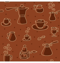 Seamless coffee pattern vector image