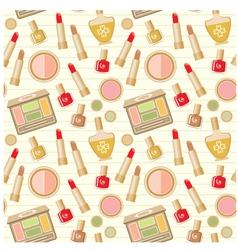 Seamless cosmetics pattern vector image