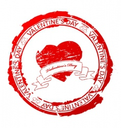 valentines day stamp vector image