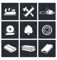 Woodworking Icons set vector image vector image